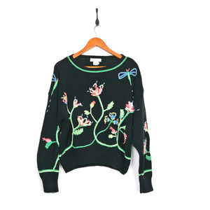 Vintage Rebecca Stone Embroided Floral Sweater